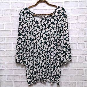 Nina Leonard Ruffle Sleeve Floral Blouse XL